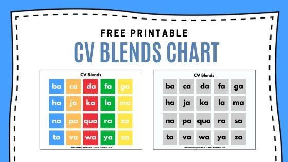 Free Printable: CV Blends Chart