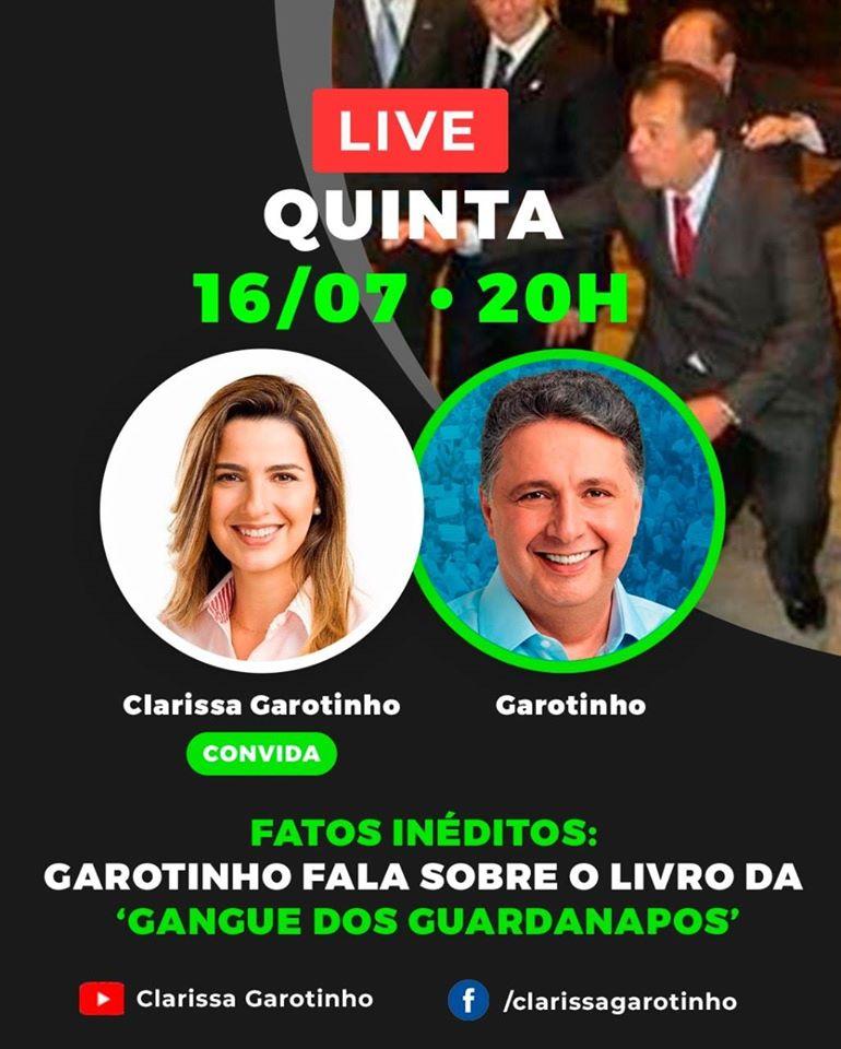 """Garotinho e Clarissa fazem live para falar sobre o livro da """"Gangue dos Guardanapos"""""""