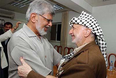 Gandhi embracing terror master Arafat
