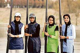 The Iranian womens rowing team, who recently placed third international in a competition in Bulgaria--from left to right are team members Sahra Zlqadr, Saba Shaiesteh, Minoo Zargari, and Mina Amini (see below for many more pictures of Iranian women sports players).