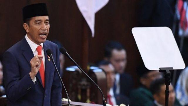Jokowi saat berpidato dalam acara pelantikan dirinya sebagai Presiden terpilih periode 2019-2024