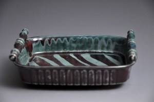 Teal and Brown Zebra Stripe Medium Tray