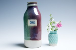 "Teal Purple and Raspberry ""Shine"" Milk Bottle"