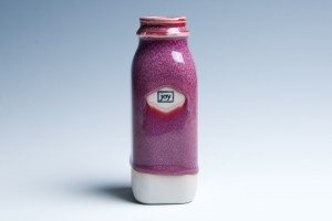 "Small Raspberry ""Joy"" Milk Bottle 