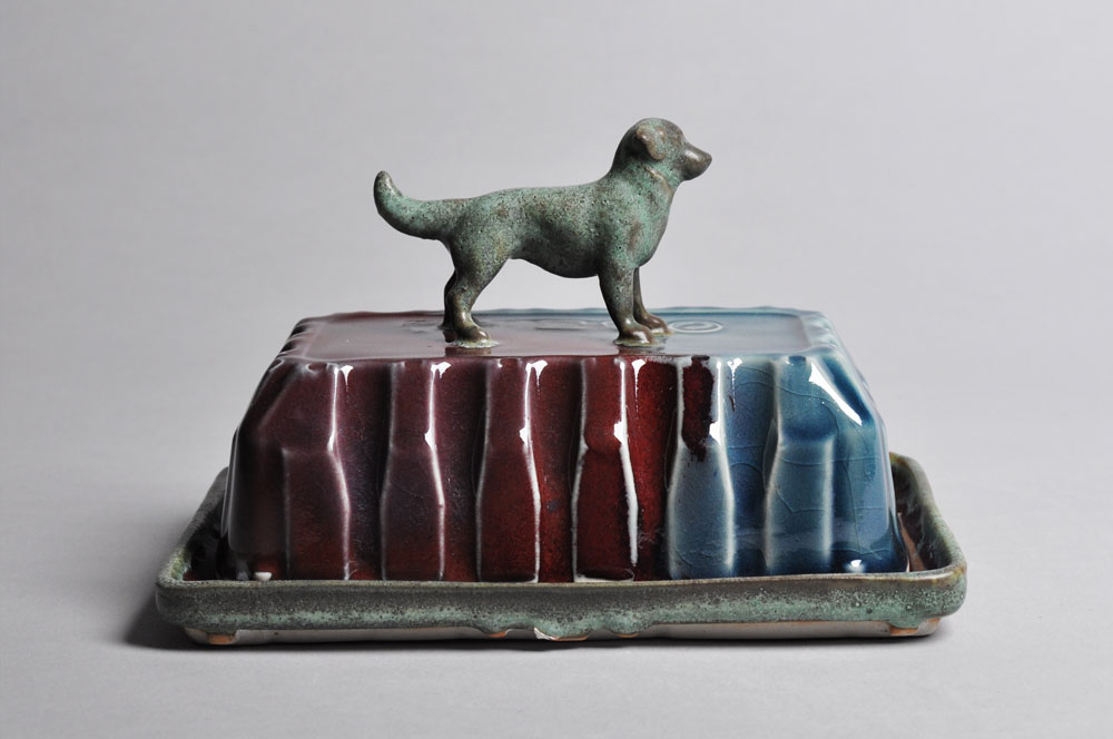 Green and Red and Blue Hound Butter Dish | Tricia Ree McGuigan