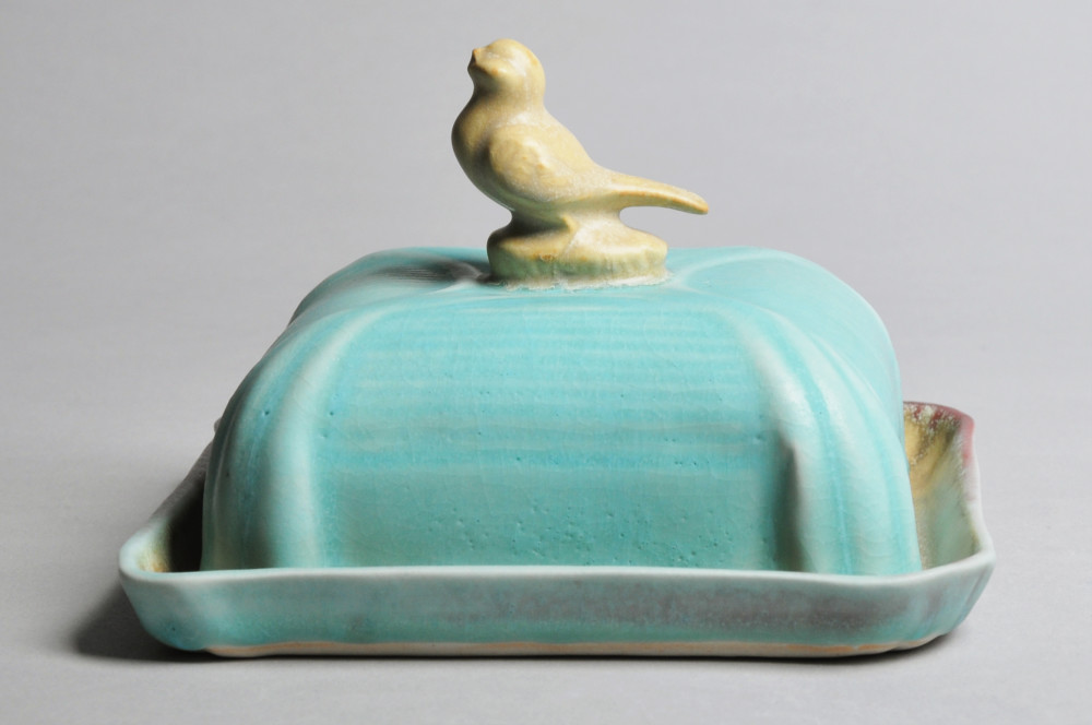 Turquoise and Yellow Bird Butter Dish | Tricia Ree McGuigan