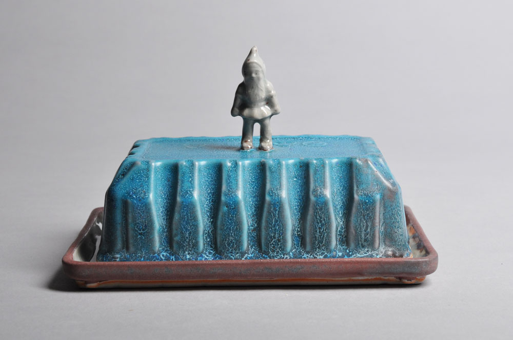 Pink White and Blue Gnome Butter Dish | Tricia Ree McGuigan