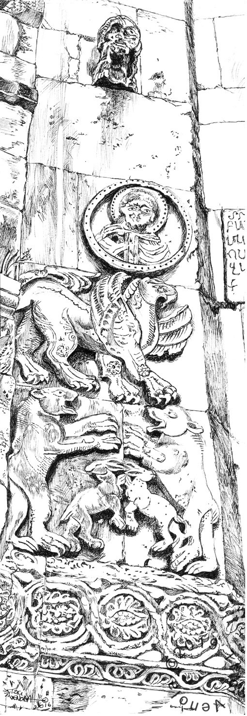 Plein air drawing of ancient carving of bunnies griffins and bears at Aghtamar