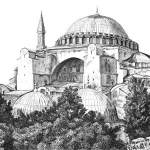 Plein air drawing of Hagia Sophia