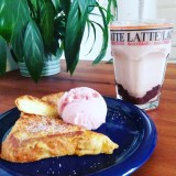 A good slice of French toast with a hot Chocolate and an ice cream. Yummy!