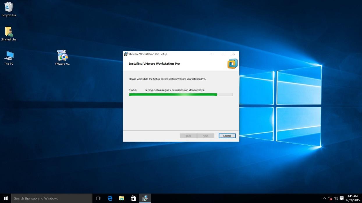 vmware workstation 12 pro installation installing dialog box