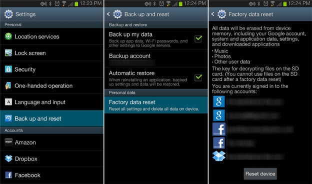 Delete Everything using Factory Reset