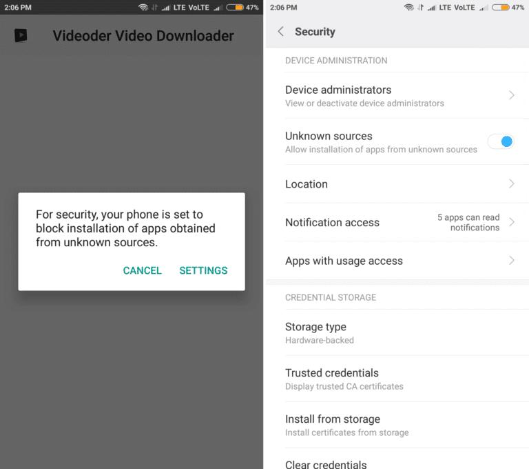 Videoder app install