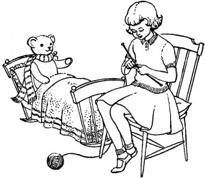 girl knitting with bear