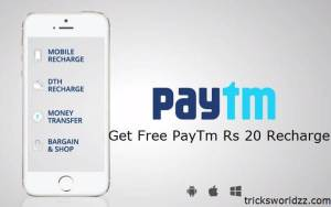 Get Free PayTm Rs 20 Mobile Recharge