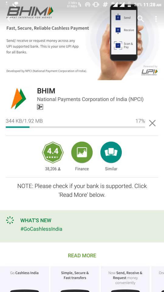 Go Cashless BHIM App Installation