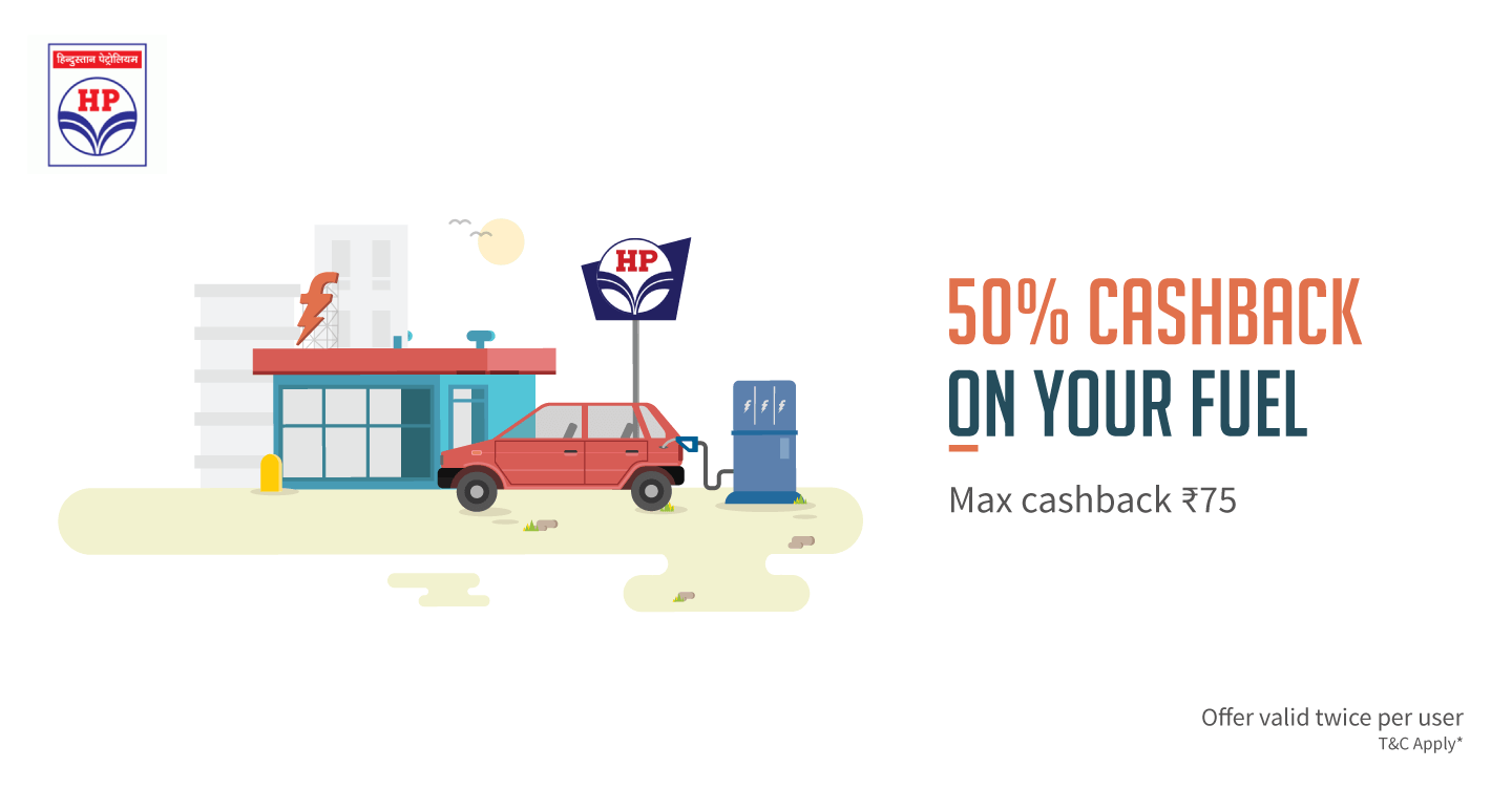 Get Flat 50% Freecharge Cashback Offers HP Petrol Pumps