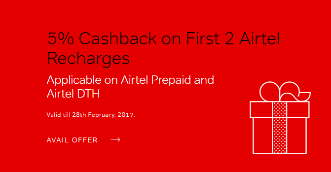 Airtel Prepaid & Airtel DTH Recharge Coupons Promo Codes