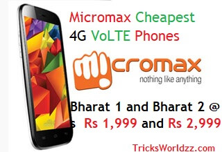 Micromax Cheapest 4G VoLTE Phones Bharat 1 and Bharat 2