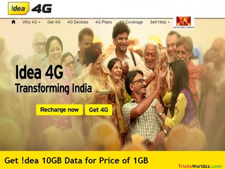 Idea 10GB Free Internet Data