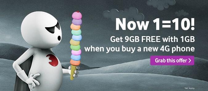 Vodafone 10GB Free Internet Data