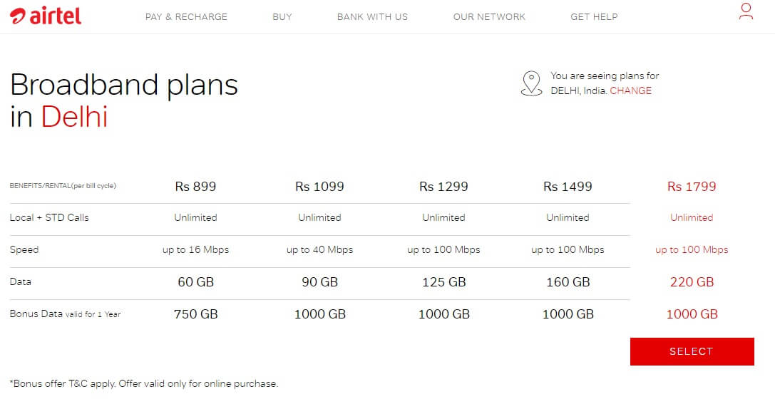 Airtel Broadband Offers Get 1000GB Bonus Free Internet Data.