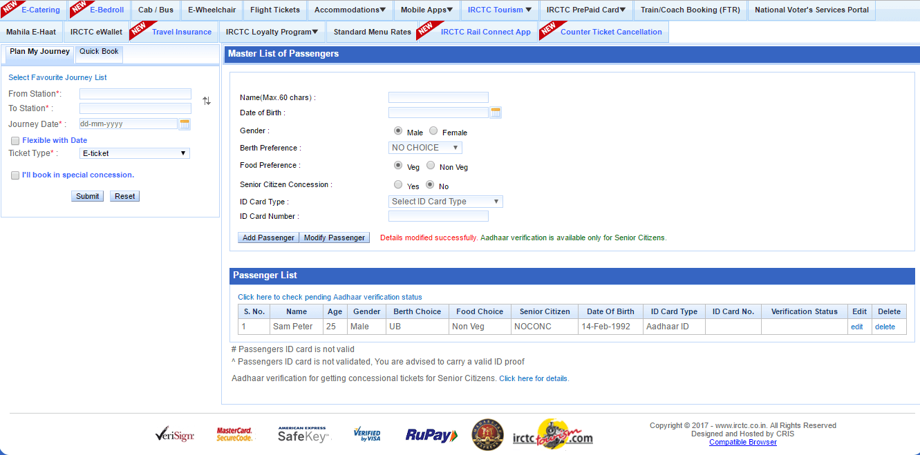 Book IRCTC Confirm Tatkal Ticket Online Master List