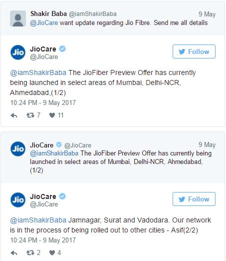Jiocare Twitter reply on Jio Broadband launch