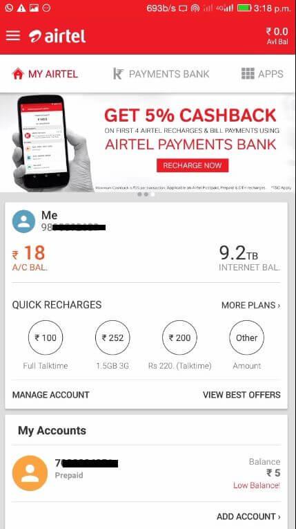 AirTel Free Internet Trick Loot 9.2 TB 4G Data