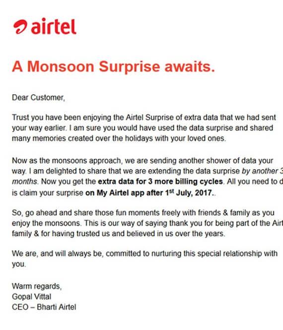 30GB Free Internet Airtel 4G