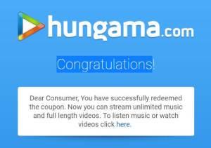 Free Hungama Music Pro Subscription - Registration Successful.
