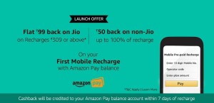Get Flat Rs. 99 Cashback on Jio Recharge of Rs. 309 & Above – Amazon