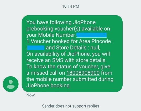Check JioPhone Status Via SMS
