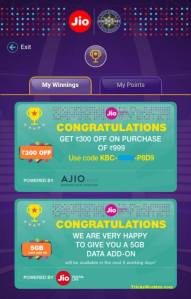 Free Ajio Rs 300 Coupon and 5GB additional Free Internet Data on Playing KBC with JioChat