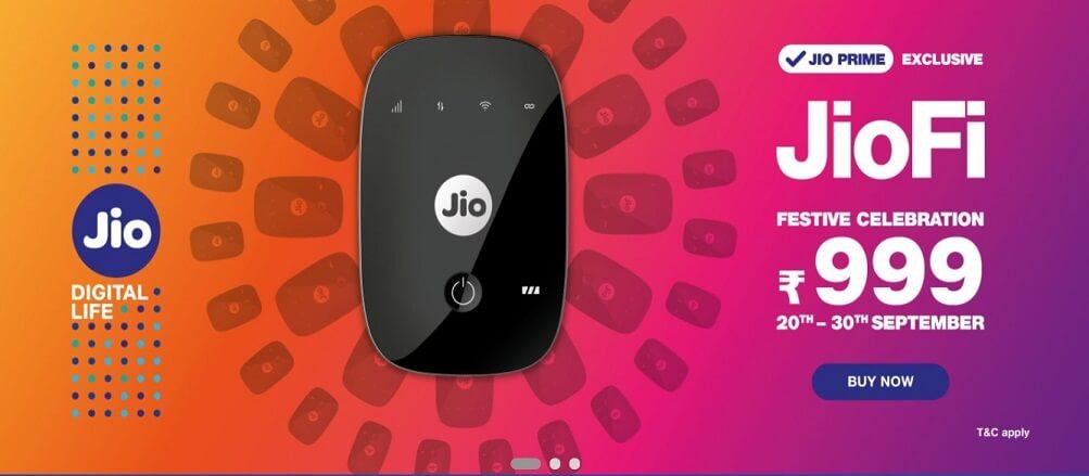 Jio Festive Offer Get Jiofi at Rs. 999