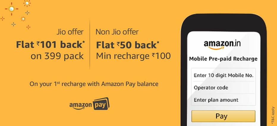 Amazon Reliance Jio Recharge Offer Get Flat Rs.101 Cashback on Rs.399