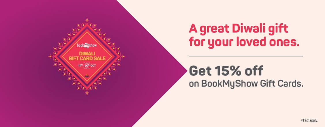 Get Flat 15% Off with BookMyShow Gift Cards