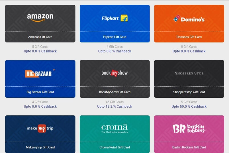 Buy Gift Card & Get Freecharge Cashback of 25