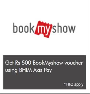 Get Rs 500 BookMyShow Voucher on Recharges Done Via Axis Pay UPI