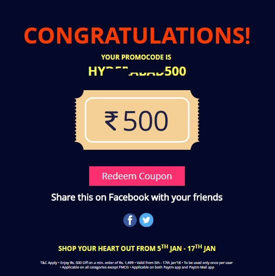 Get Free ₹500 Off on a Minimum order of ₹1499 on Paytm Mall App Offer