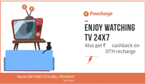 Freecharge Get Free Rs 60 Cashback Tatasky DTH Recharge