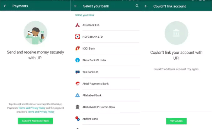 WhatsApp UPI Payments user interface