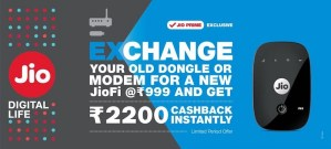 Latest JioFi Device Exchange Offer Get JioFi at Rs 999 + Free Cashback of Rs 2200