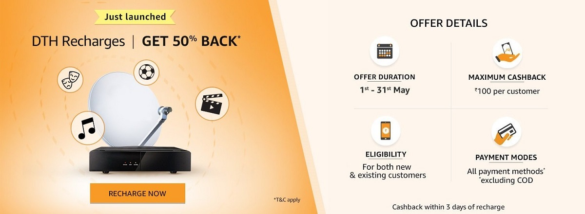 Amazon Pay DTH Recharge Get Flat 50% Cashback