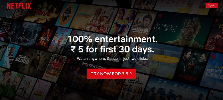 Get NetFlix Premium Account at ₹5 for the first 30 days