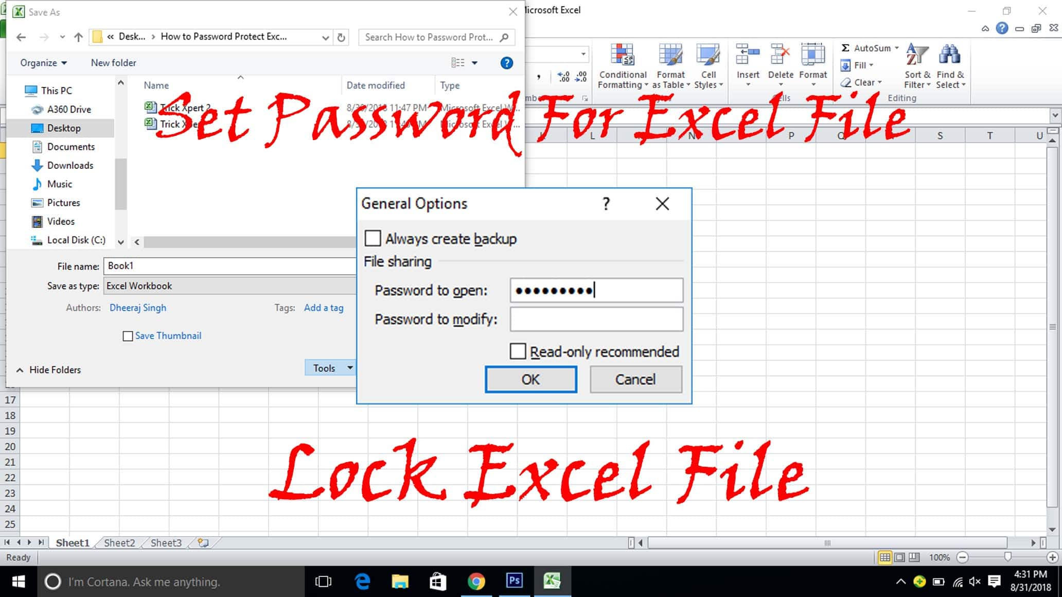 How To Password Protect Excel File 3 Methods