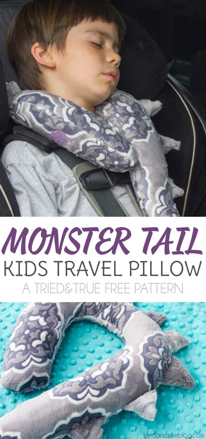 monster tail kid s travel pillow