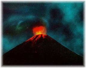 Volcán submarino en erupción