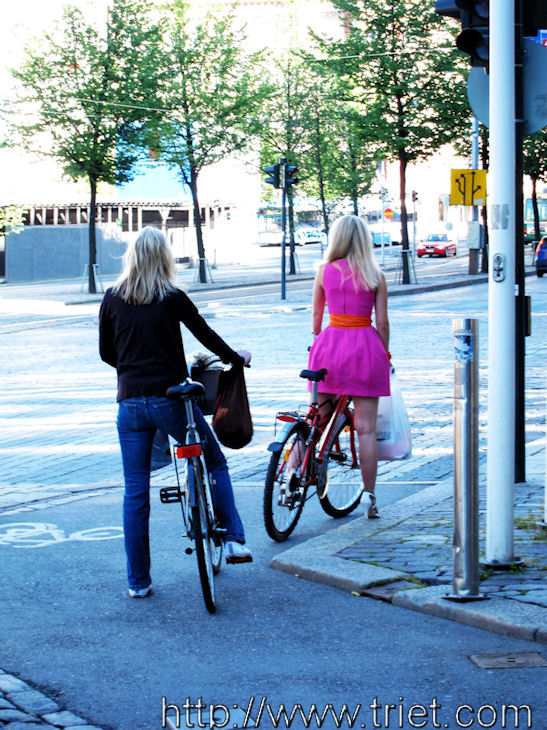 Blonde Cyclists in Helsinki