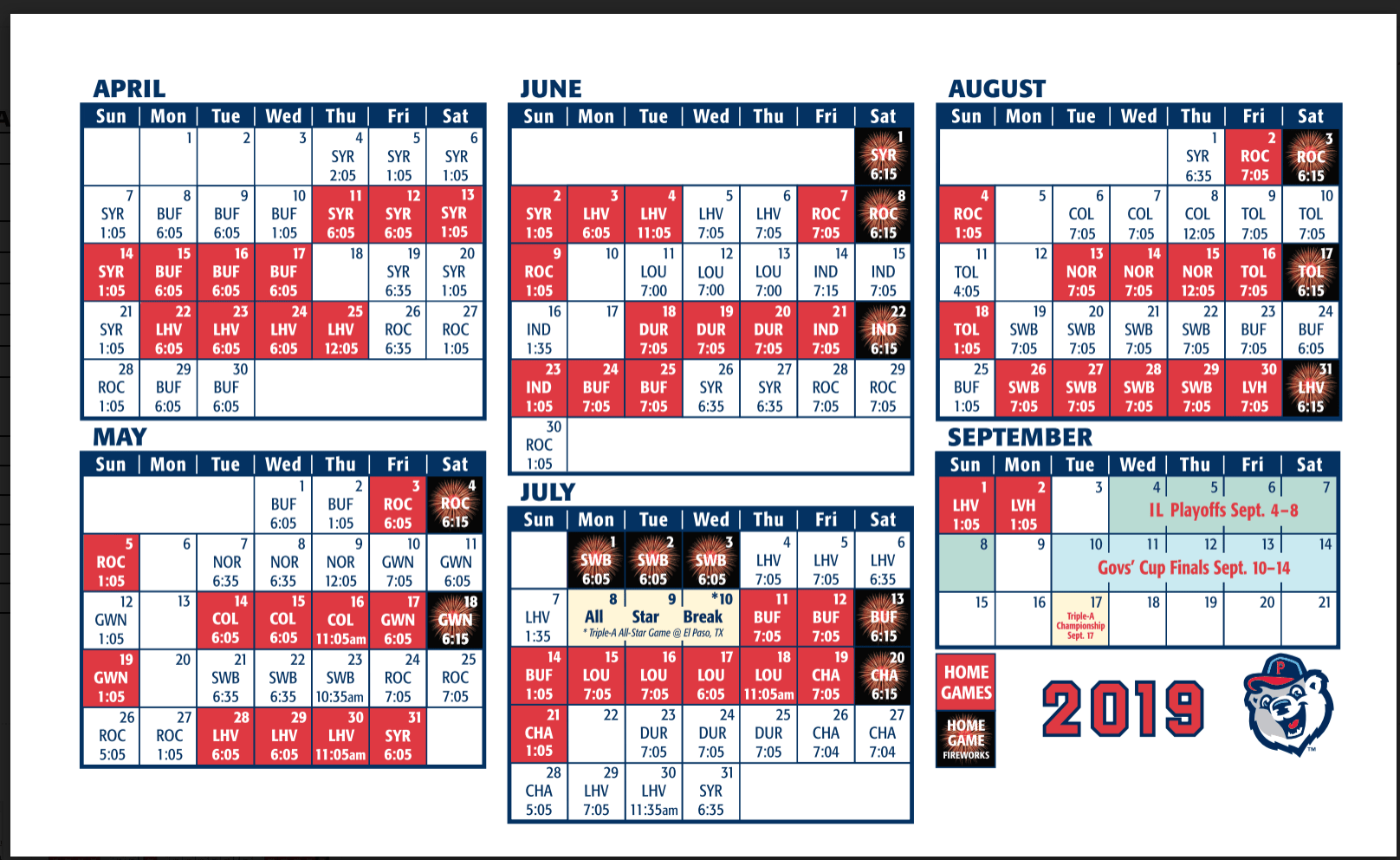 graphic regarding Printable Red Sox Schedule identified as PawSox Plan Introduced For 2019 Year